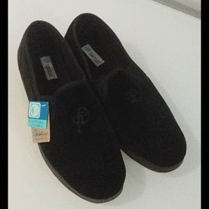 Men's black velvet slide ons